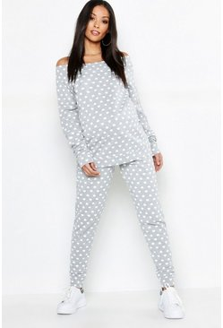 Womens Grey marl Maternity Heart Bardot Lounge Set
