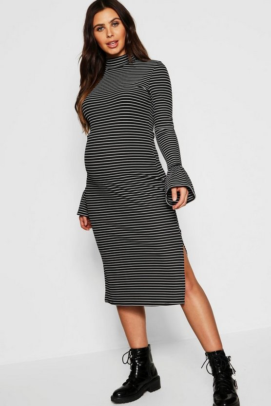 Womens Black Maternity Rib Stripe Frill Cuff Midi Bodycon Dress