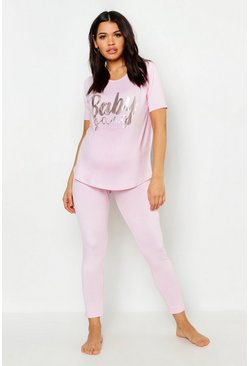 Womens Pink Maternity Baby Gang PJ Set With Foil