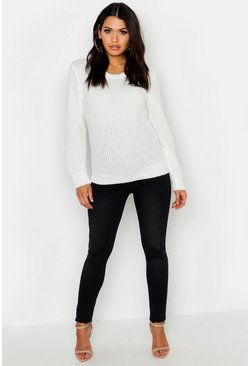 Black Maternity Ripped Knee Skinny Jean