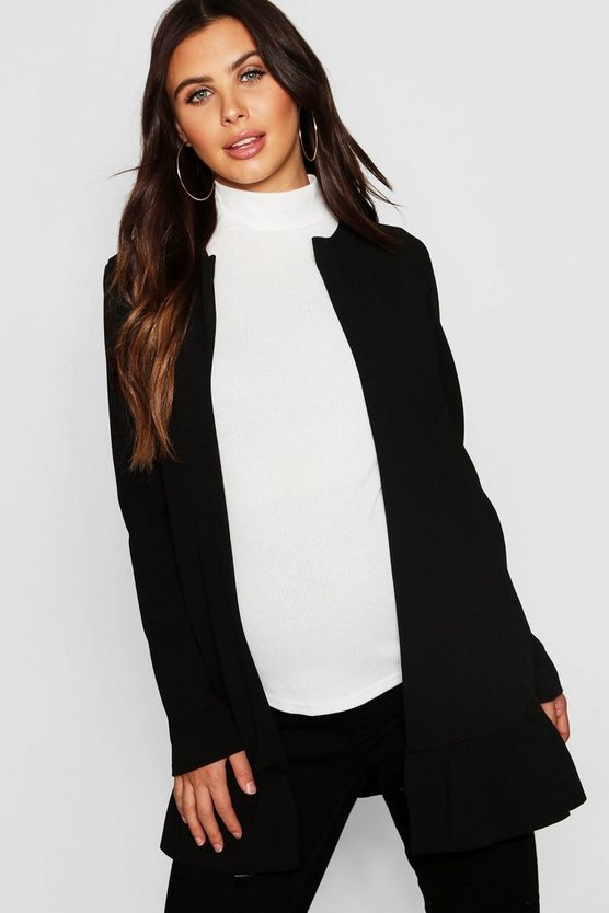 Womens Black Maternity Smart Frill Hem Duster Jacket