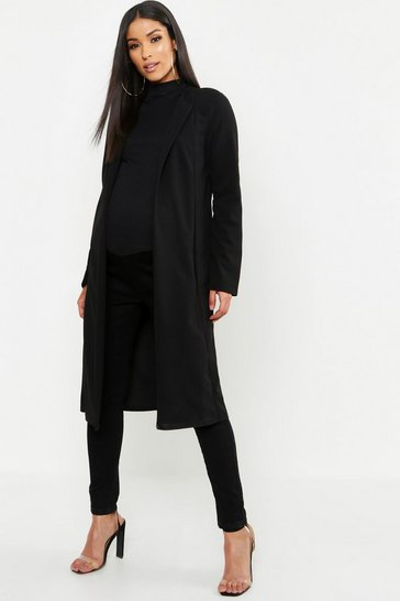 Womens Black Maternity Smart Long Line Duster Jacket