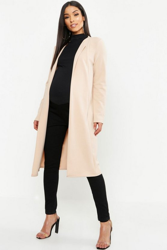 Womens Stone Maternity Smart Long Line Duster Jacket