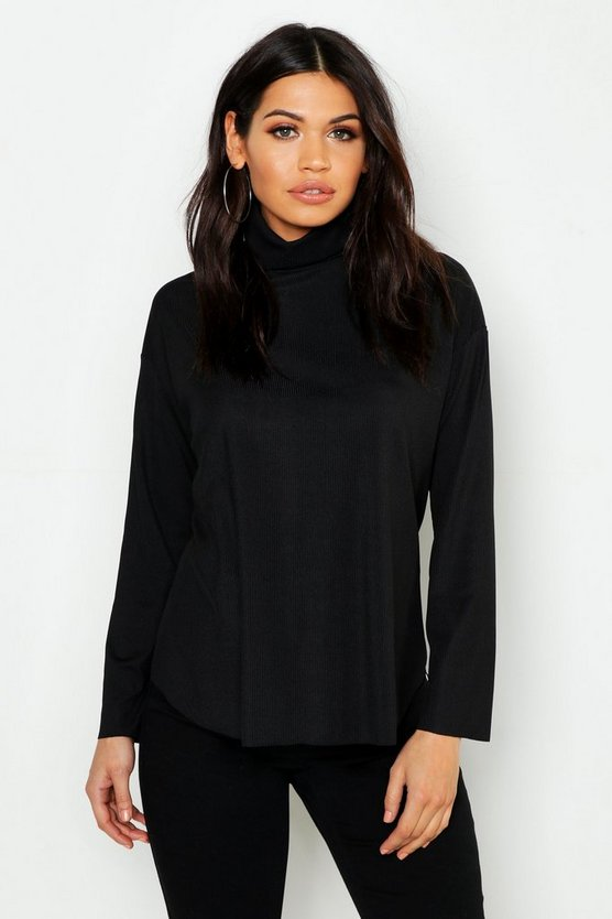 Womens Black Maternity Slouch Roll Neck Rib Top