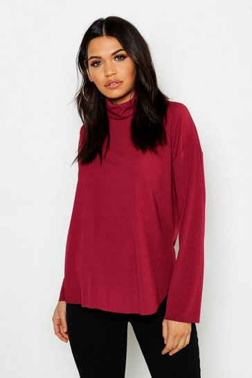 Womens Magenta Maternity Slouch Roll Neck Rib Top