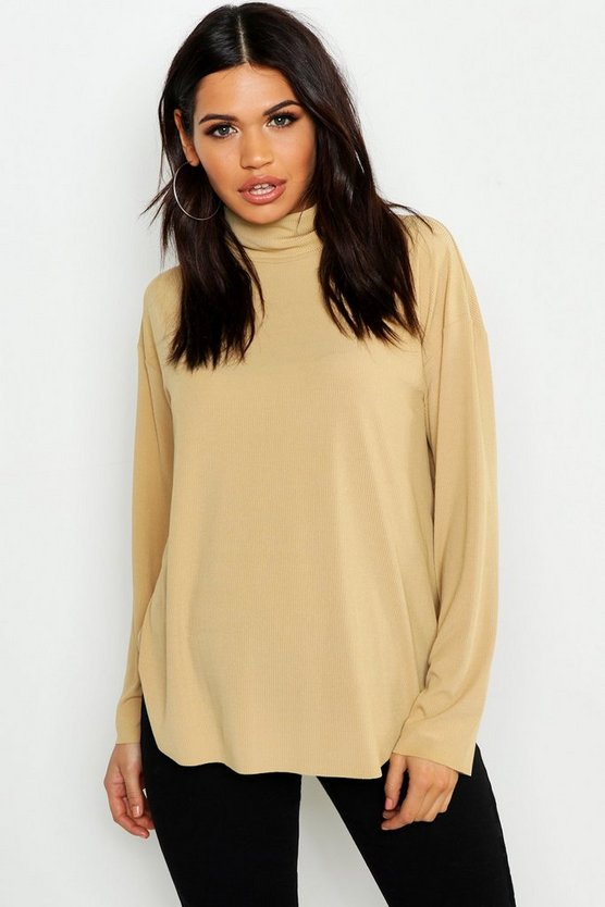Taupe Maternity Slouch Roll Neck Rib Top