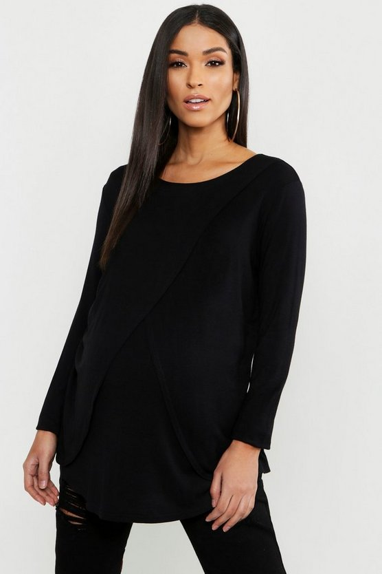 Womens Black Maternity Long Sleeved Nursing Top