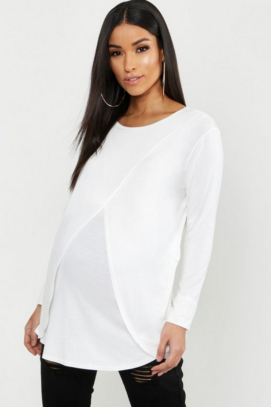 Womens Ivory Maternity Long Sleeved Nursing Top
