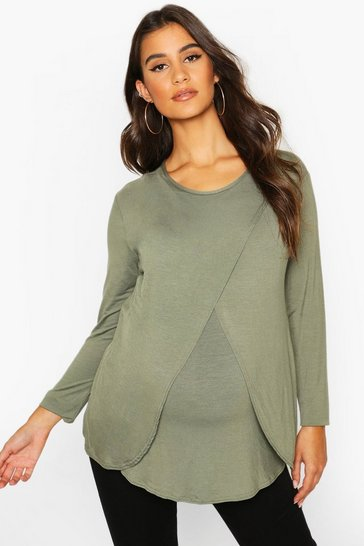 Womens Khaki Maternity Long Sleeved Nursing Top