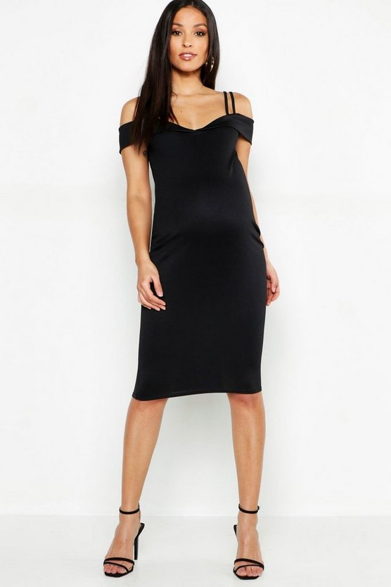 Maternity Sweetheart Midi Dress With Straps