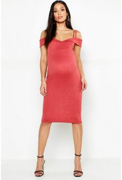 Womens Cinnamon Maternity Sweetheart Midi Dress With Straps