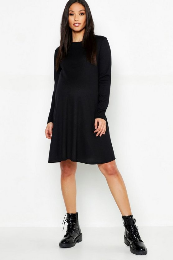 Womens Black Maternity Rib Crew Neck Swing Dress