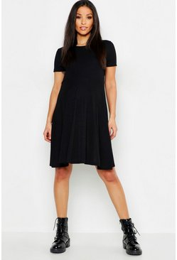 Womens Black Maternity Rib Skater Dress