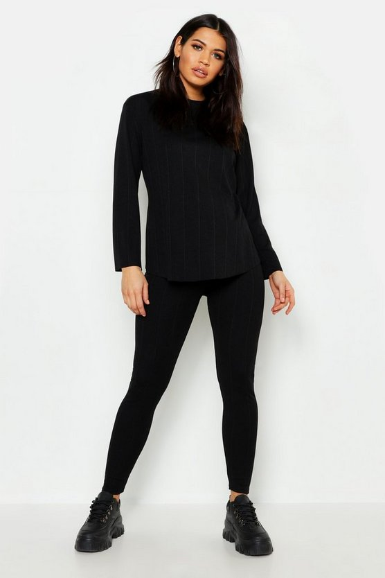 Maternity Crew Neck Panel Rib Lounge Set
