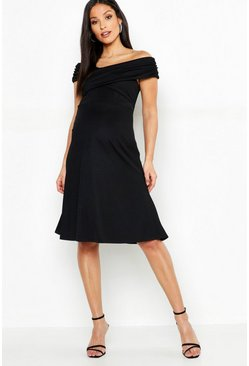 Womens Black Maternity Bardot Twist Front Skater Dress