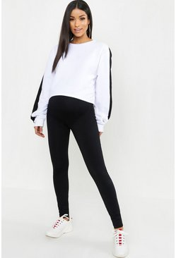 Womens Black Maternity Over The Bump Hold In Leggings
