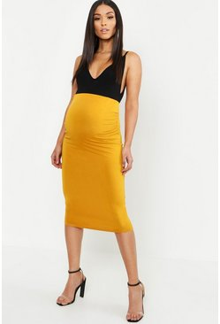 Womens Mustard Maternity Over The Bump Hold In Midi Skirt