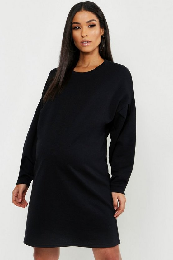 Maternity Gathered Sleeve Oversized Sweat Dress