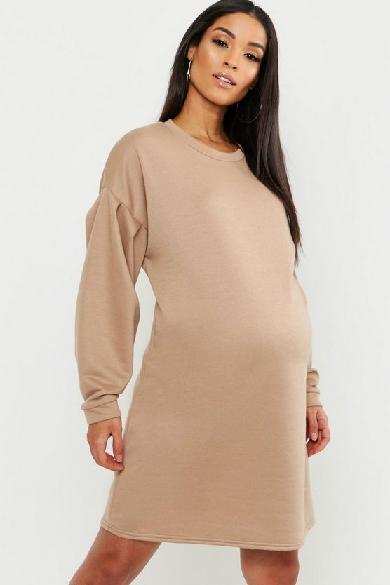 Womens Maternity Gathered Sleeve Oversized Sweat Dress