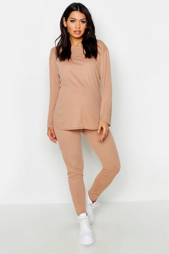 Womens Camel Maternity Baby Rib Crew Lounge Set