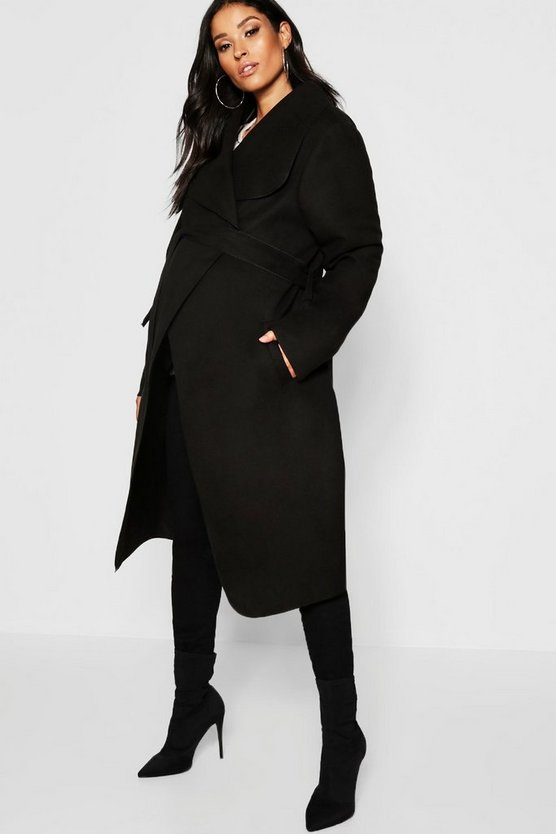 Maternity Wool Look Wrap Front Coat