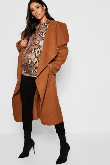 Womens Mocha Maternity Wool Look Wrap Front Coat