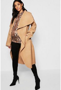 Stone Maternity Wool Look Wrap Front Coat