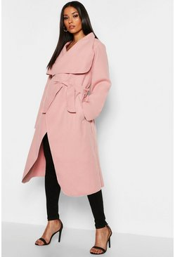 Womens Blush Maternity Wool Look Wrap Front Coat