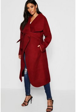 Berry Maternity Wool Look Wrap Front Coat