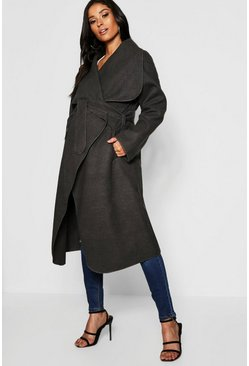 Womens Charcoal Maternity Wool Look Wrap Front Coat