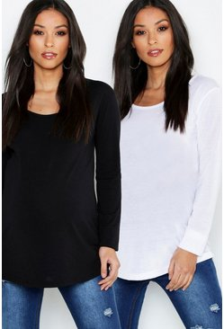 Womens Multi Maternity 2 Pack Long Sleeve Side Split T-Shirt