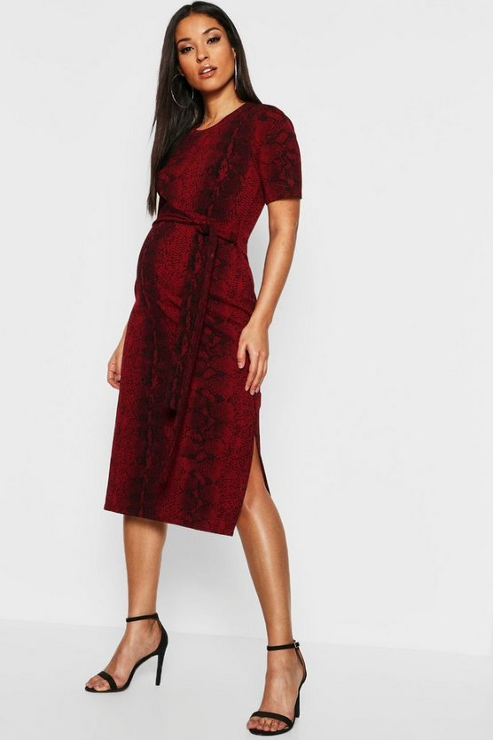 Womens Red Maternity Snake Tie Front Midi Dress