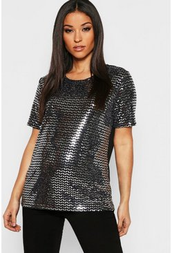 Womens Black Maternity Sequin Top