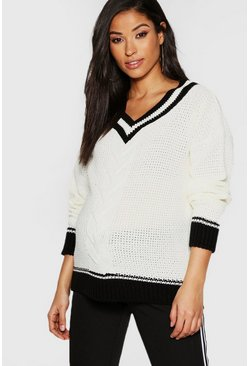 Womens Ivory Maternity VNeck Knitted Jumper