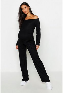 Womens Black Maternity Knitted Bardot Wide Leg Lounge Set