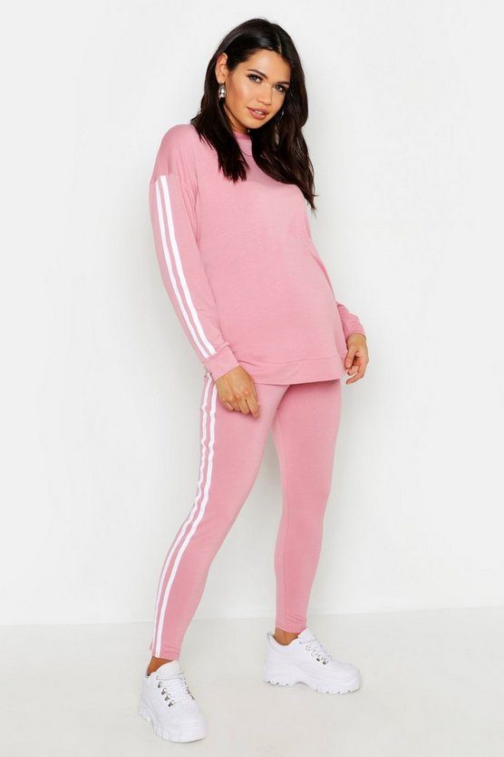Maternity Contrast Stripe Lounge Set