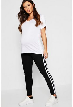 Black Maternity Contrast Stripe Over The Bump Leggings