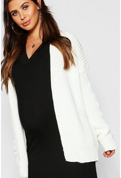 Womens Ivory Maternity Chunky Knit Cardigan