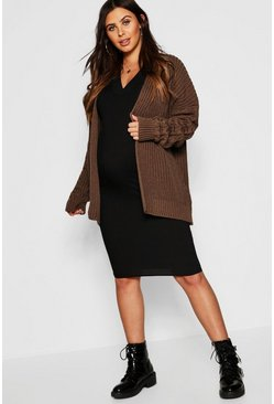 Womens Toupe Maternity Chunky Knit Cardigan