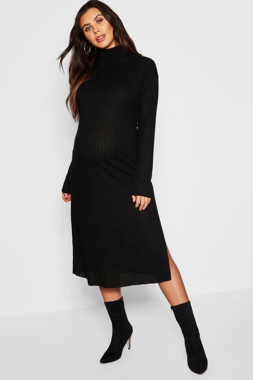 Maternity Roll Neck Wide Rib Midaxi Dress