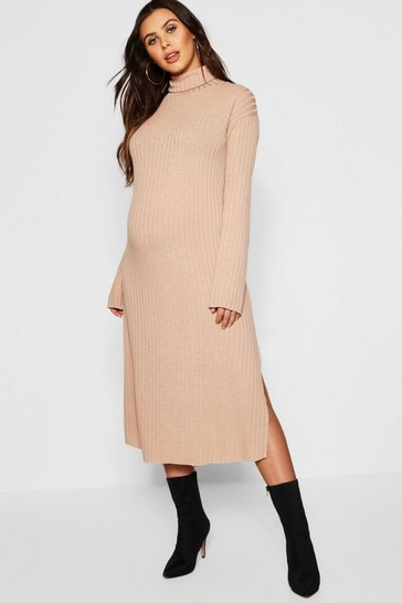 Womens Camel Maternity Roll Neck Wide Rib Midaxi Dress