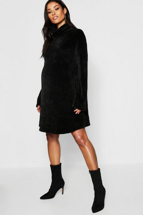 Womens Black Maternity Chenille Roll Neck Jumper Dress