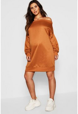 Womens Camel Maternity Bardot Sweat Dress