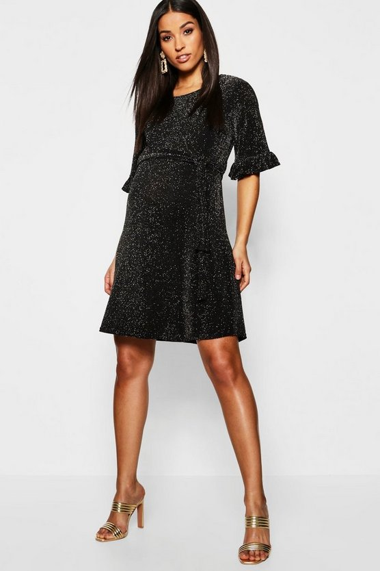 Maternity Shimmer Ruffle Tie Waist Shift Dress