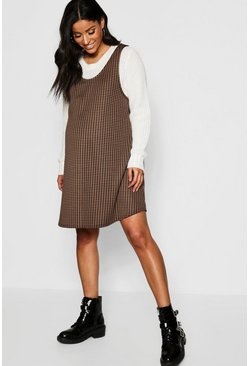 Womens Brown Maternity Dog Tooth Swing Pinafore Dress