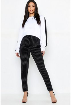 Womens Black Maternity Pinstripe Drawstring Tapered Trouser