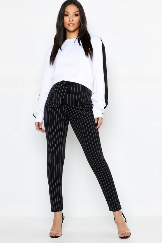 Maternity Pinstripe Drawstring Tapered Trouser