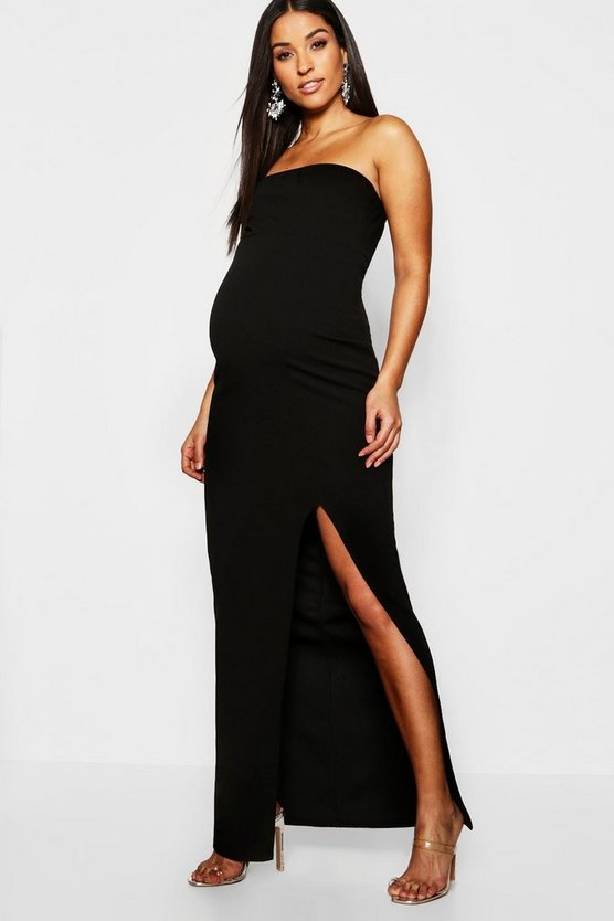 Maternity Bandeau Split Maxi Dress