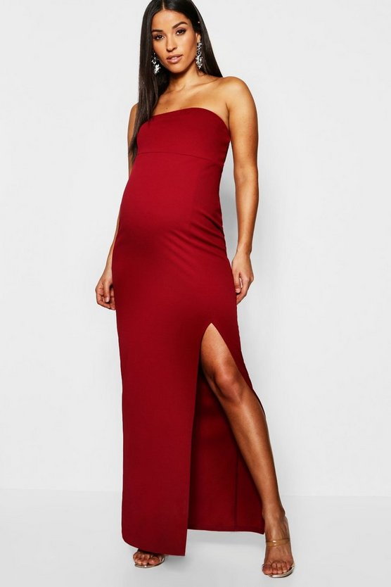 Womens Wine Maternity Bandeau Split Maxi Dress