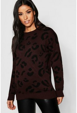 Womens Chocolate Maternity Leopard Knitted Sweater